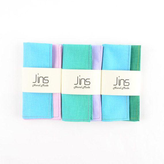 Blue-green gradient cotton handkerchief with multi-colour edge stitched, multicolour pocket squares for men, unique designed handkerchief