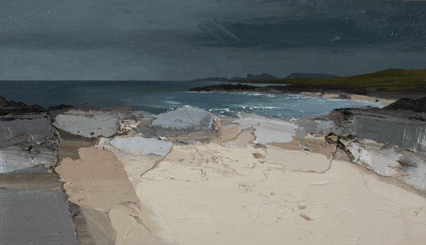 April Rain, High Water, Saligo Bay, oil on canvas board, 36 x 21 inches by Chris Bushe