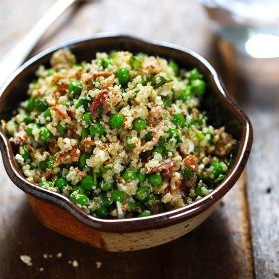 Spring Quinoa Salad has quinoa tossed with peas, fresh herbs, feta ...