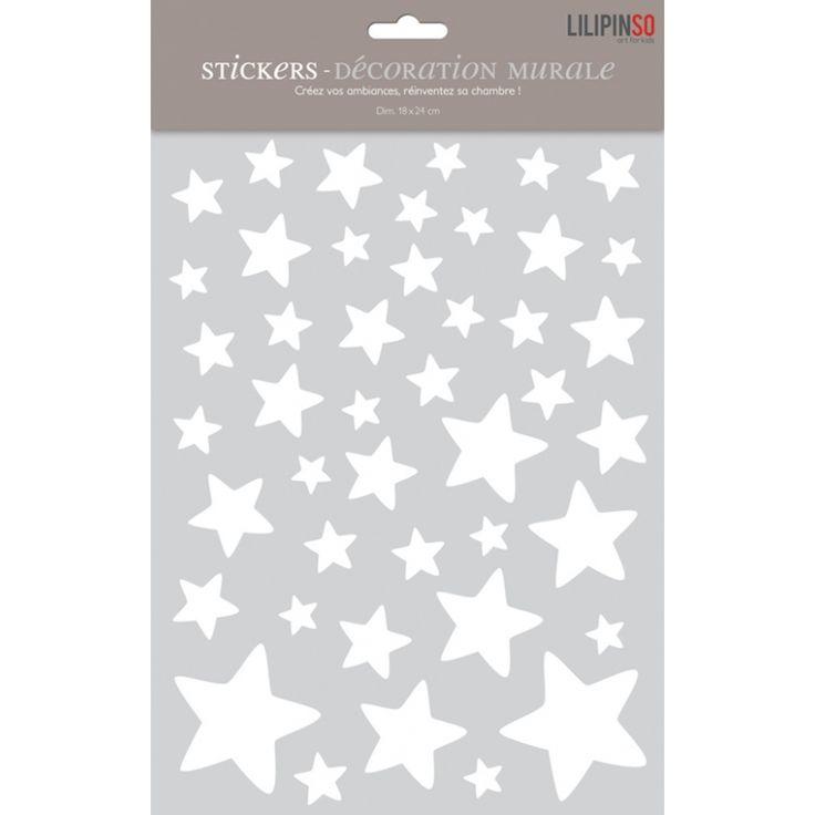 Wandtattoo Set 'Sterne' weiß 44-teilig