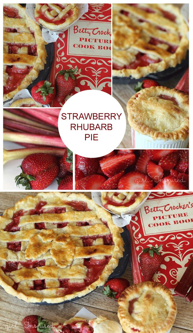 Strawberry Rhubarb Pie! With my favorite oil crust recipe from the 1950 Betty Crocker Cookbook.