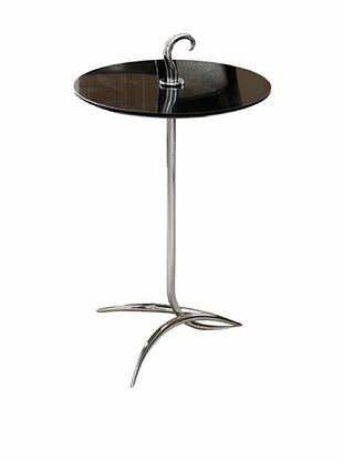 Global Views Nickel and Black Granite Hook Side Table