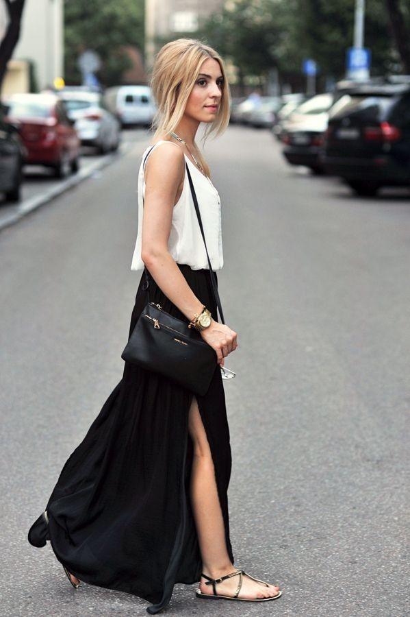 High split maxi black skirt
