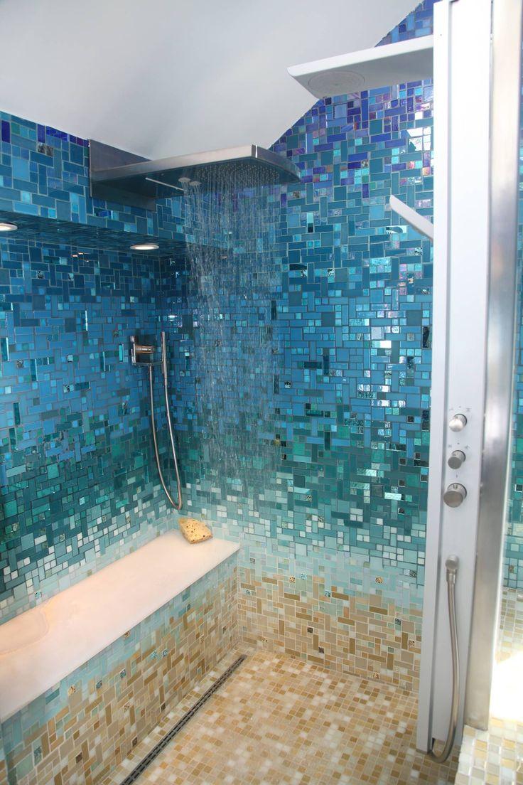Bathroom Idea Ocean Ombre Accent Walls This bluegreen