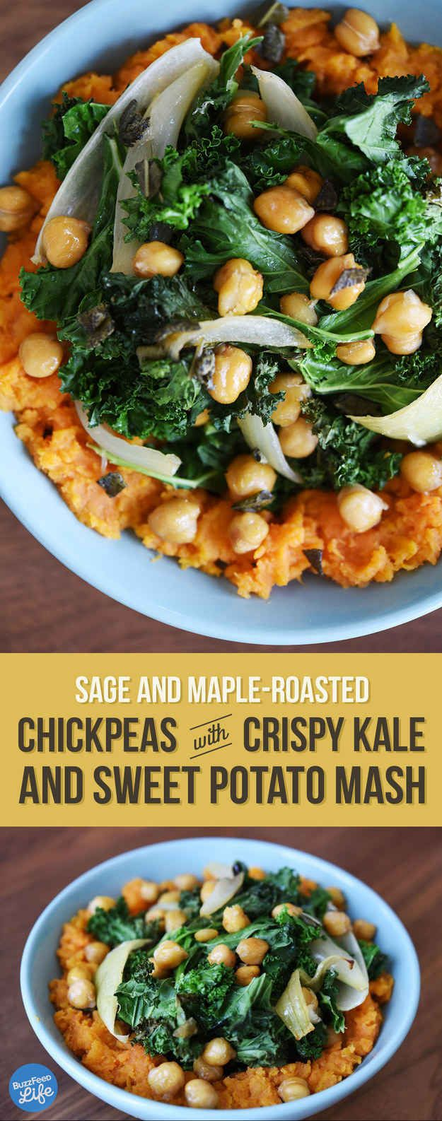 Chickpea and Crispy Kale over Mashed Sweet Potatoes