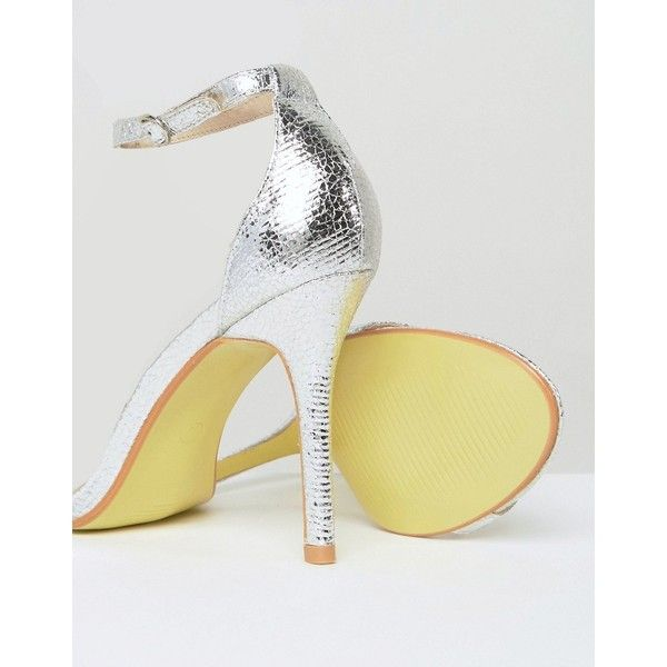 Glamorous | Glamorous Silver Patent Two Part Heeled Sandals via Polyvore featuring shoes and sandals