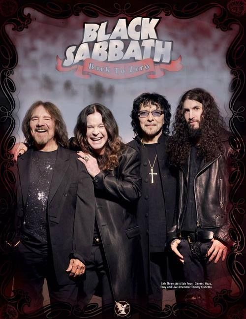 Black Sabbath 2013/2014 Geezer Butler(baixo), Ozzy Osbourne(vocal), Tony Iommi(guitarra) e Tommy Clufetos(baterista acidental).
