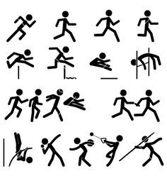Sport pictogram icon set 02 track and field vector 1000098 - by branca_escova on VectorStock®