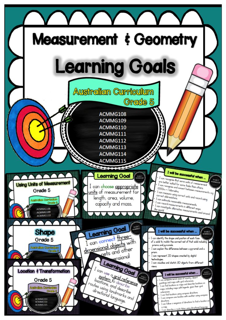 Year 5 Mathematics – Measurement and Geometry, Learning Goals and Success Criteria Posters    This packet has all the posters you will need to display the learning goals for grade 5 Australian Curriculum Maths – Measurement and Geometry. All content descriptors have been reworded into smart goals with an accompanying poster showing the success criteria needed to achieve these goals.