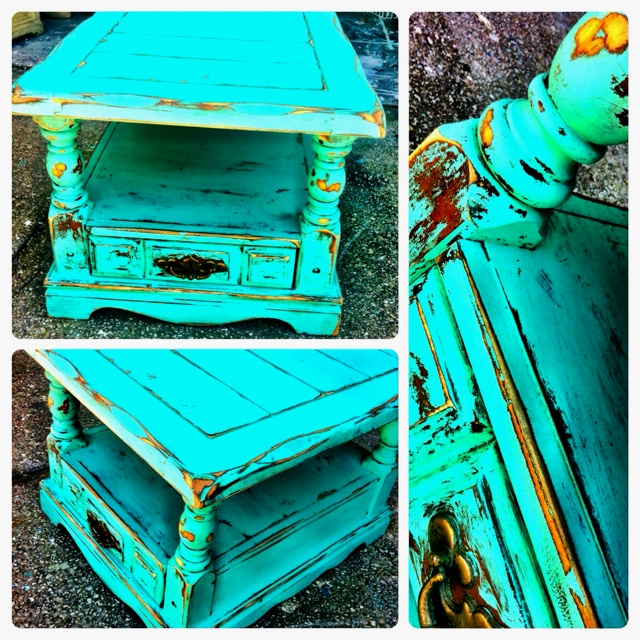 Distressed wood turquoise end table furniture