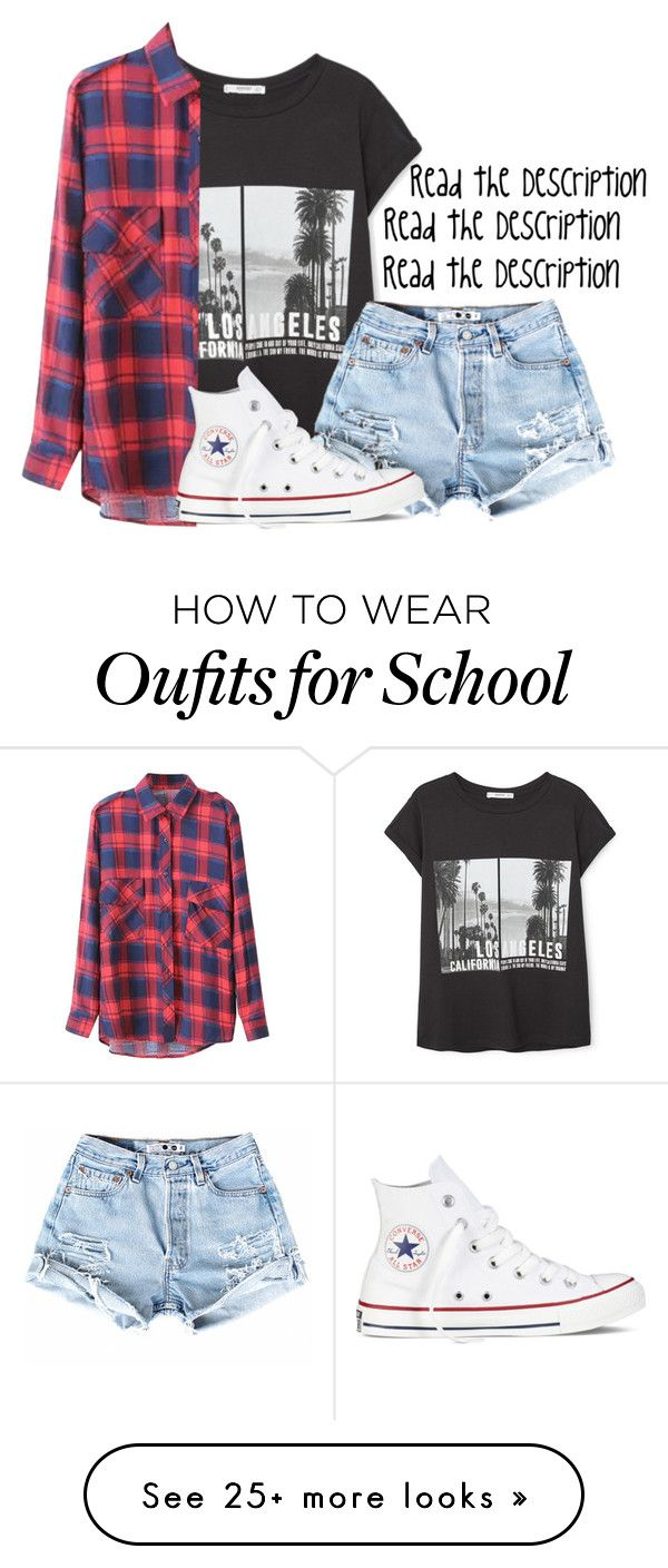 """""""School Tomorrow•Read D!!!!!"""" by dejonggirls on Polyvore featuring MANGO, Converse, women's clothing, women, female, woman, misses and juniors"""