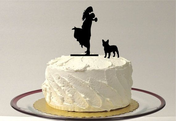 WITH DOG Wedding Cake Topper Silhouette by CreativeButterflyXOX