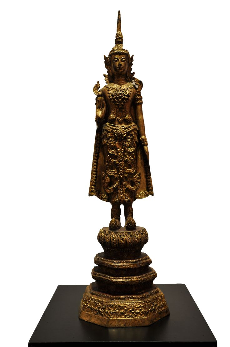Standing Buddha with Crown. Thailand, bronze, late 19th century. For more information about this and other amazing antique products, visit our website: www.sat-nam-art.com