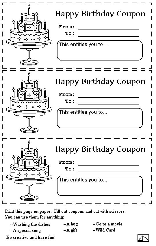 Printable Birthday Coupons Coloring Pages  Birthday Coupon Templates Free Printable