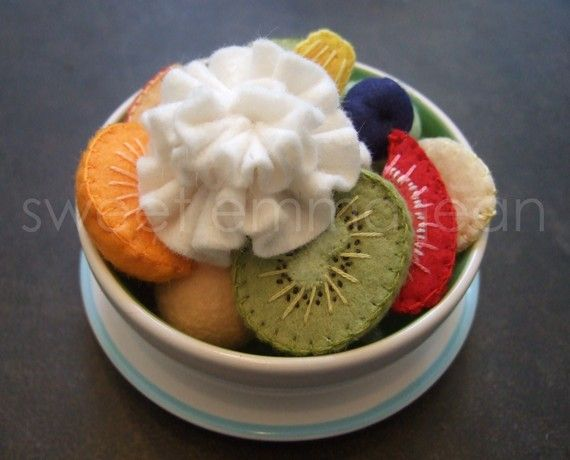 Felt Play Food Pattern - Fruit Salad and Fresh Fruit Tart PDF - DIY Felt Food