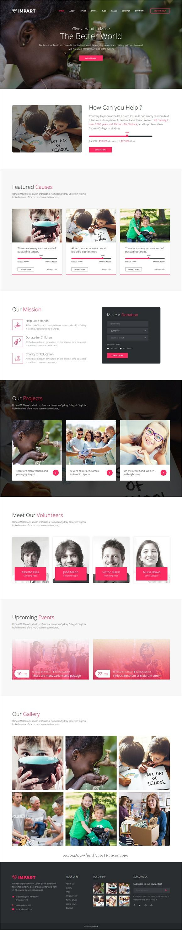 Impart is clean and modern design 2in1 responsive #bootstrap template for charity and #fundraising website download now..
