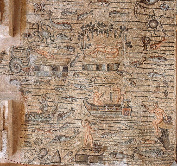 Scena di pesca - Tour virtuale - Basilica di Aquileia - Mosaici