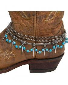 Cowgirl Confetti Teardrop Chain & Turquoise Boot Bracelet