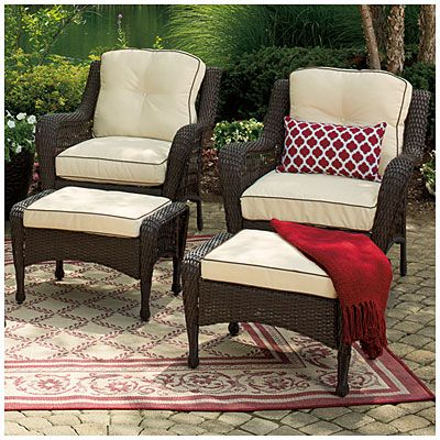 view wilson fisher barcelona resin wicker set of 2 cushioned chairs with ottomans deals at. Black Bedroom Furniture Sets. Home Design Ideas