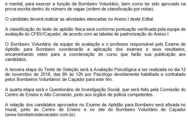 Edital para Escola de Formação de Bombeiro Voluntário - 2016/17