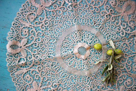Lace Tablecloth topper Point de Venise Handmade Lace ca.