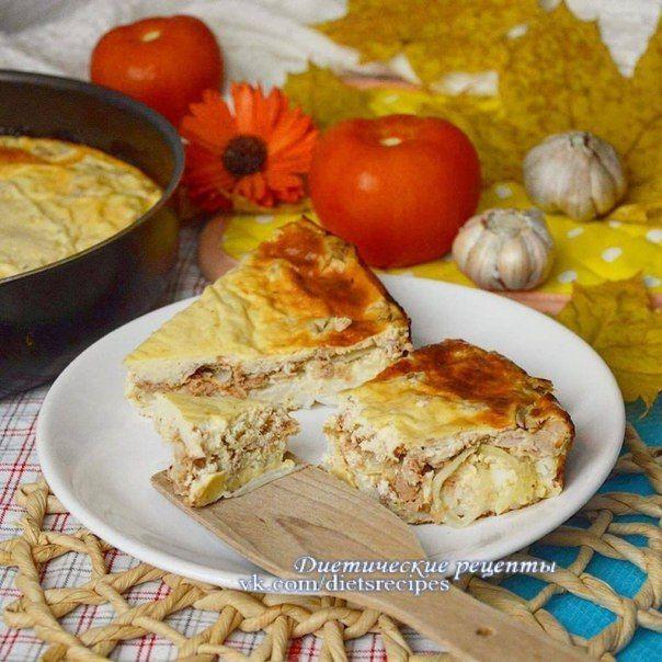 ПП-заливной пирог с тунцом, рисом и луком / Богатая добыча