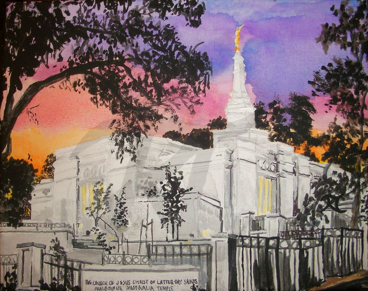 """Melbourne Australia LDS Temple Painting"" Enjoy this mixed media acrylic and Sharpie artwork by Bekalyn Craig of the Melbourne Australia LDS Temple. If you would like to visit this temple, the address is 76 Cathies Ln, Wantirna South VIC 3152, Australia. Prints are availabe at ArtPal https://www.artpal.com/bekablocreations?i=52384-224 and digital dowloads are available on Etsy."