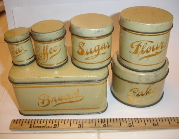 Vintage Toy Tin Kitchen Canister Set, Pressed Steel, C 1950? Breadbox +