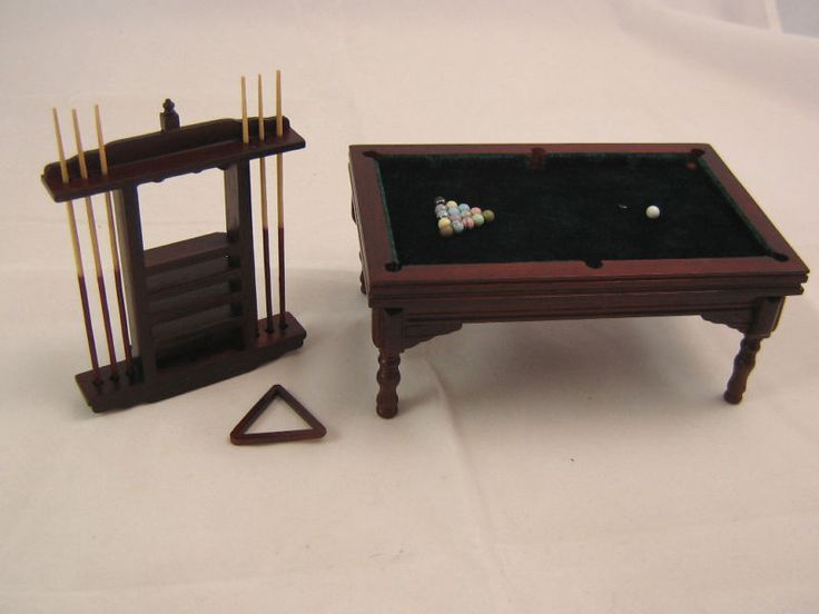Billiard Pool Table Set dollhouse miniature furniture wood T3476  1/12 scale Z