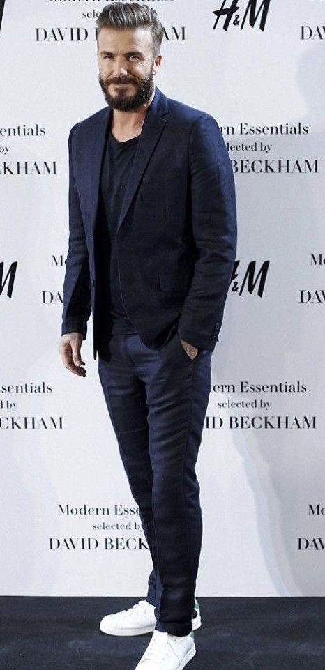 4bf72f4f3e09 David Beckham with a minimal business casual combo with a navy blazer navy  trousers black t-shirt white stan smith adidas sneakers  menswear  casual  ...