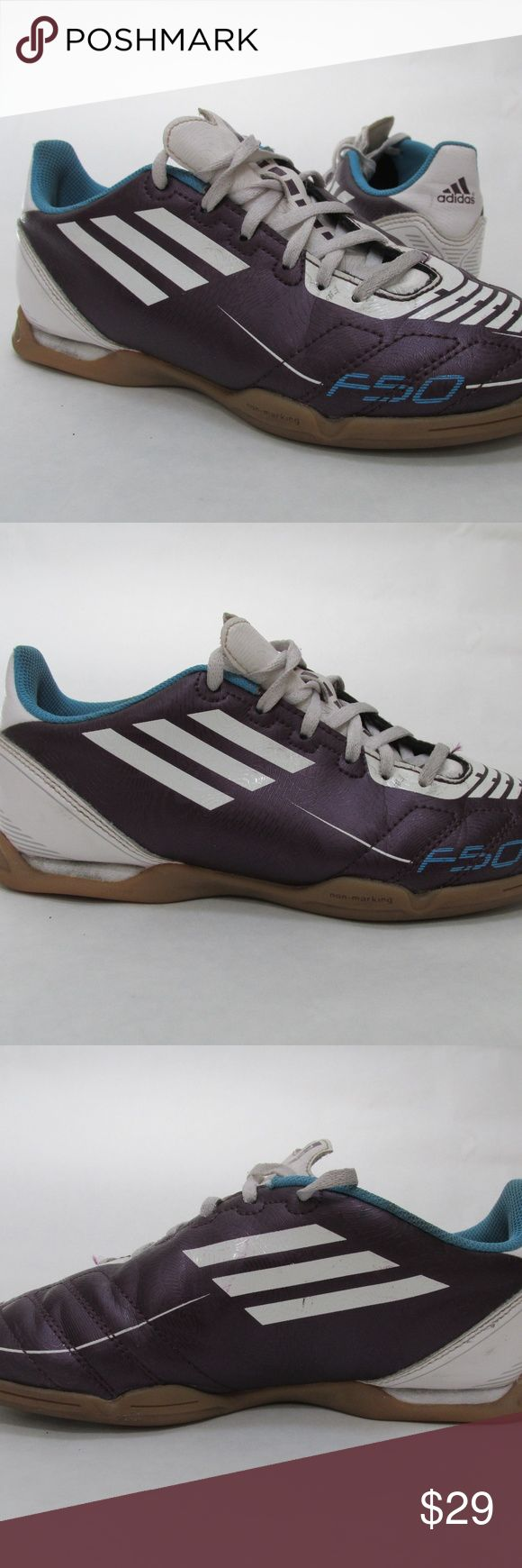 Adidas F-50 F50 Indoor Turf Soccer Cleats Shoes Adidas Purple White Blue F-50 F50 Indoor Turf Soccer Cleats Shoes Youth Size 4  Used only one season. Im great condition. See photos for the exact cleat you will receive. adidas Shoes Sneakers