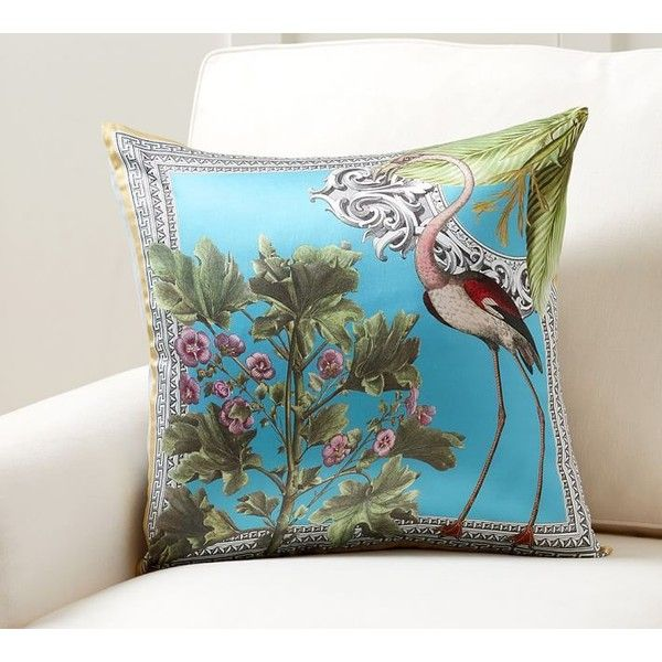 pottery barn crane scarf print pillow cover 20 liked on polyvore featuring home couch throw