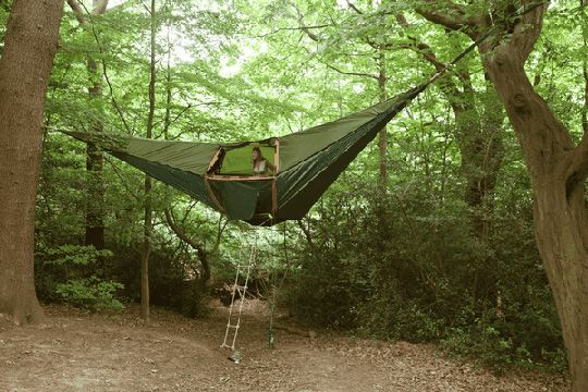 Tent-hammock: Idea, Stuff, Camping, Hammocks, Outdoor, Treehouse, Hammock Tent