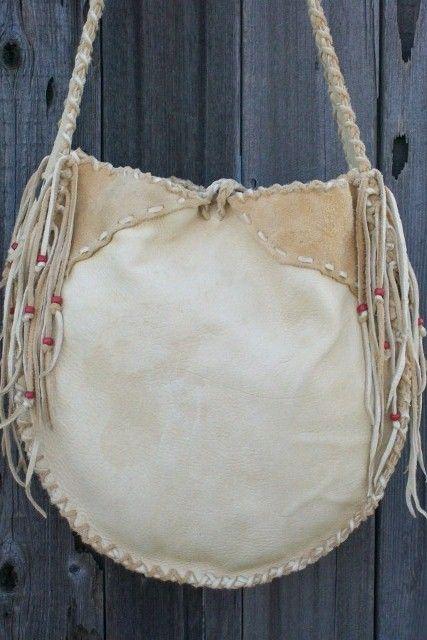 ON SALE Leather drum bag Buckskin leather by thunderrose