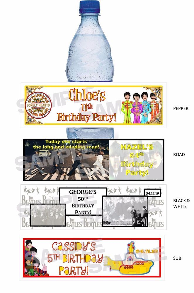 Personalized FAB 4 THE BEATLES Retro Birthday Party water bottle label wrappers #Unbranded #Any