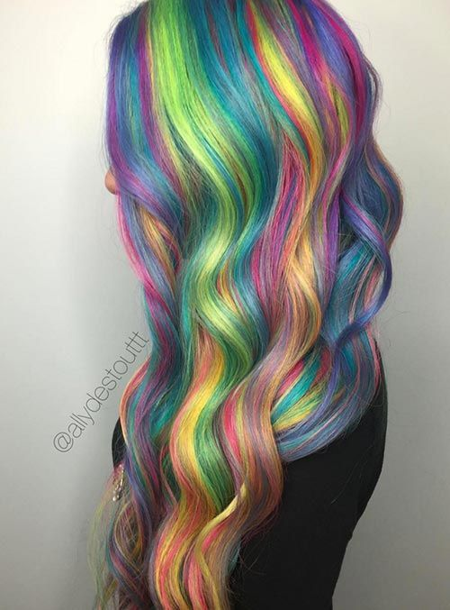 50 Bold Pastel and Neon Hair Colors in Balayage and Ombre | Neon hair Rainbow hair and Balayage