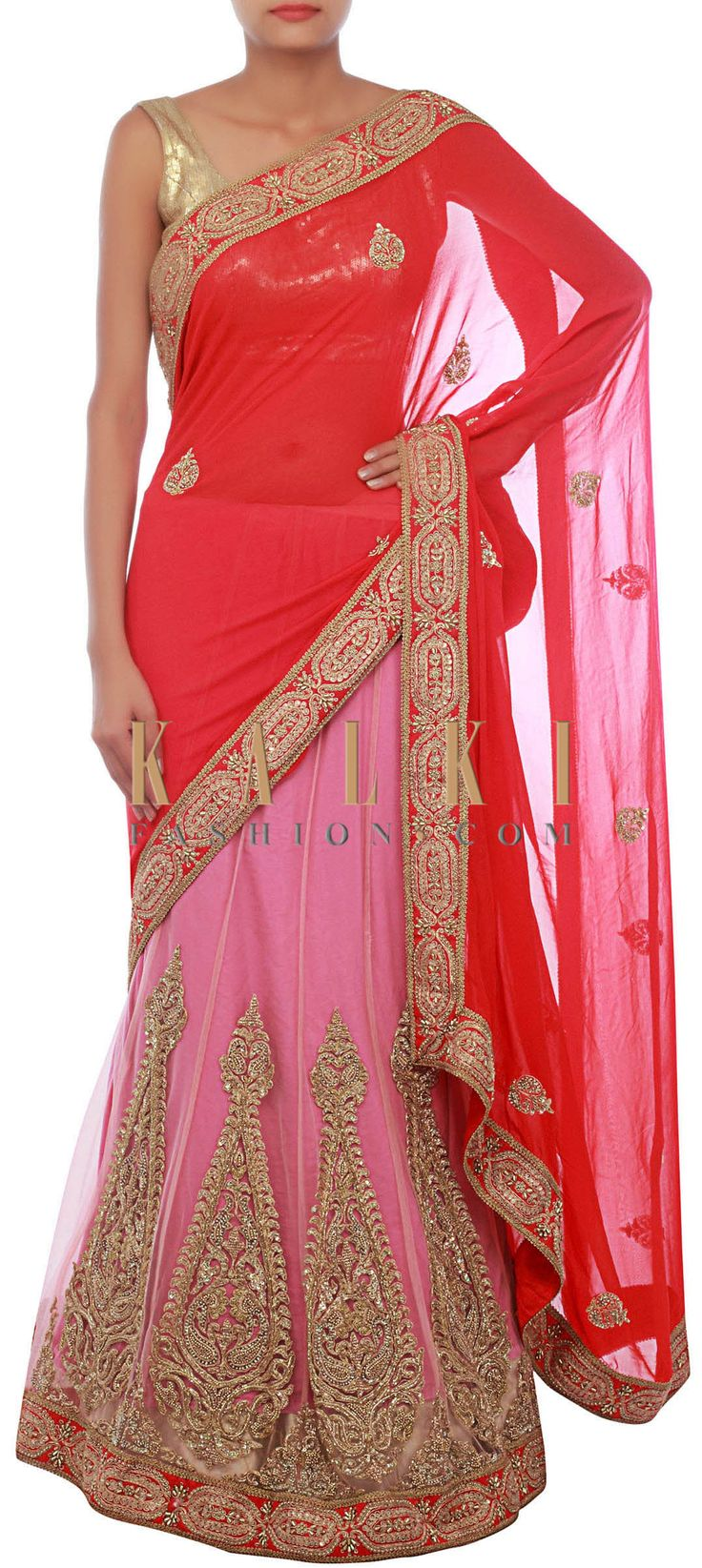 Buy Online from the link below. We ship worldwide (Free Shipping over US$100) http://www.kalkifashion.com/pink-and-red-lehenga-saree-embellished-in-zardosi-and-kardana-embroidery-only-on-kalki.html