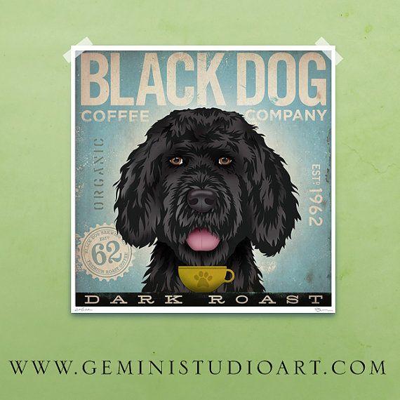 Black Dog Mutt Coffee Company original graphic illustration giclee archival signed artist's print 8 x 8