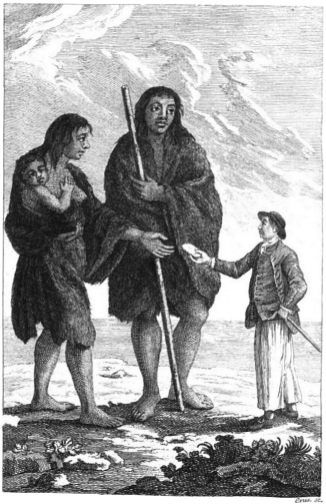 Giant Patagon woman and child.