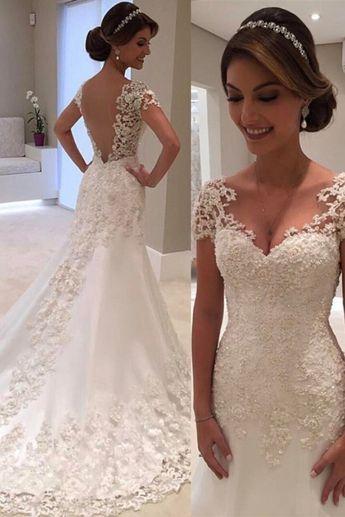 Gorgeous Lace Short Sleeves Bride Dresses 2018 Mermaid Wedding Dress –