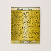 Wedding anniversary personalized jigsaw puzzle. Custom 50th Anniversary Word Art Personalized Jigsaw Puzzle