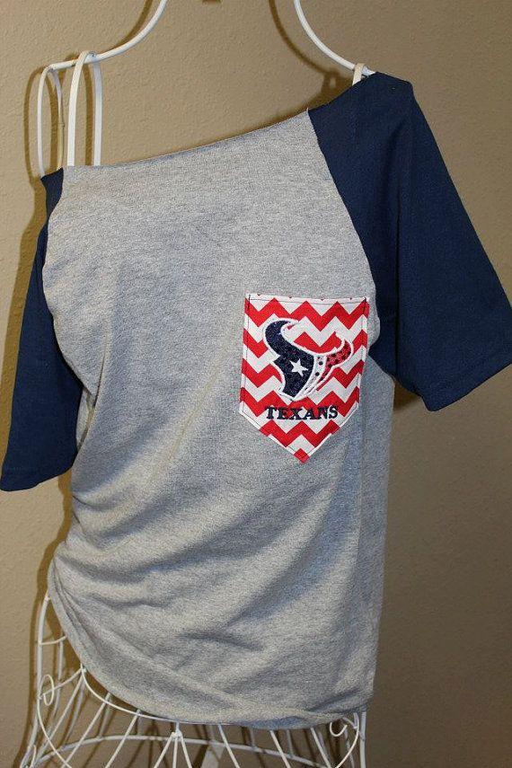 Houston Texans Pocket Off-the-Shoulder Shirt Chevron Football Toro Bull on Etsy, $32.00