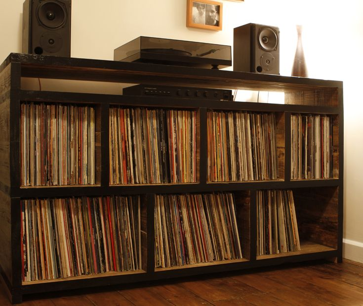 reclaimed wood record shelving by geisharobot