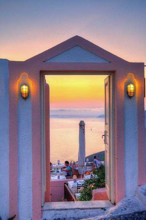 Sunset Dinner in Santorini, Greece