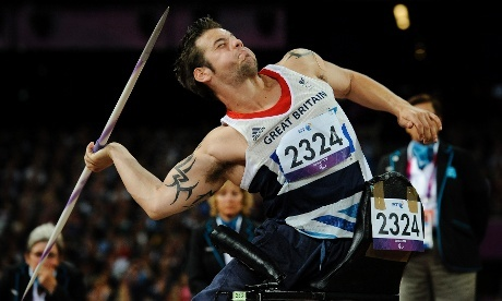 Nathan Stephens of GB competing in the mens javelin F57/58. He controversially failed to make the cut after two of his first three throws were adjudged to be fouls.