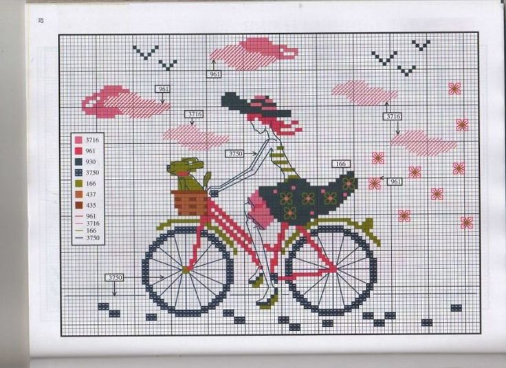0 point de croix fille bicyclette - cross stitch girl and bike
