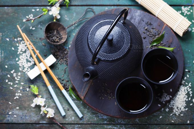 Asian tea set by klenova on Creative Market