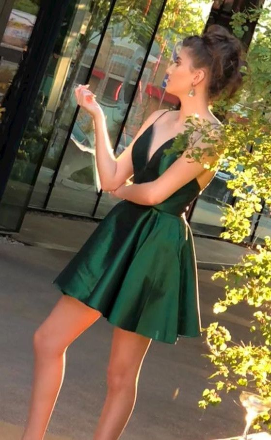 6d242cd43d Simple A Line V Neck Spaghetti Straps Backless Short Dark Green Short  Homecoming Dresses Under 100