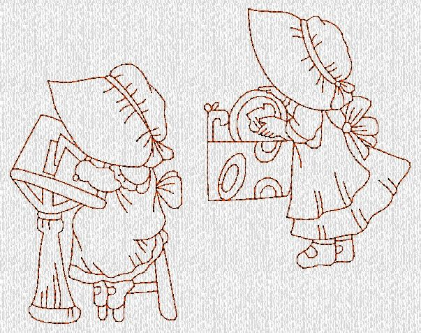 INSTANT DOWNLOAD Sunbonnet Sue Girls at Home by embroiderygirl