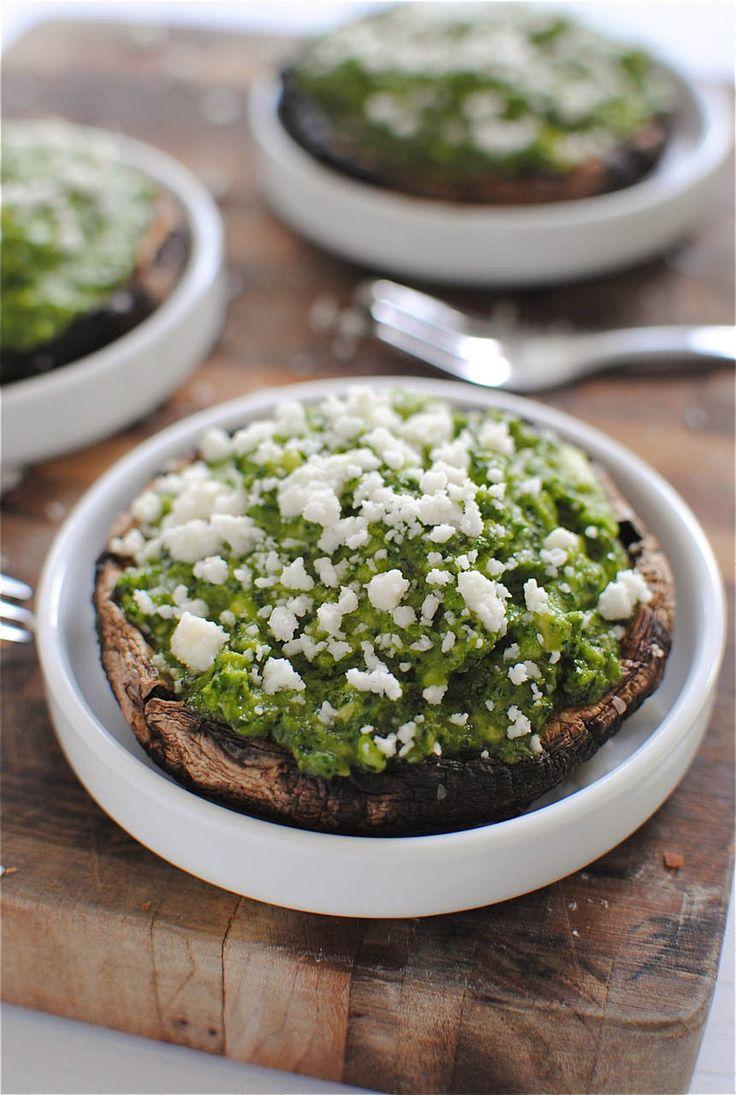 Portobello Mushrooms with Kale-Pesto Guacamole // Bev Cooks